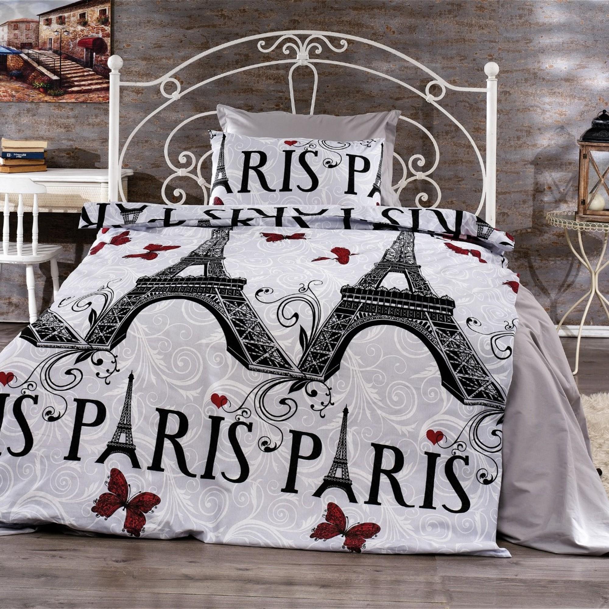 Спално бельо от ранфорс Love in Paris