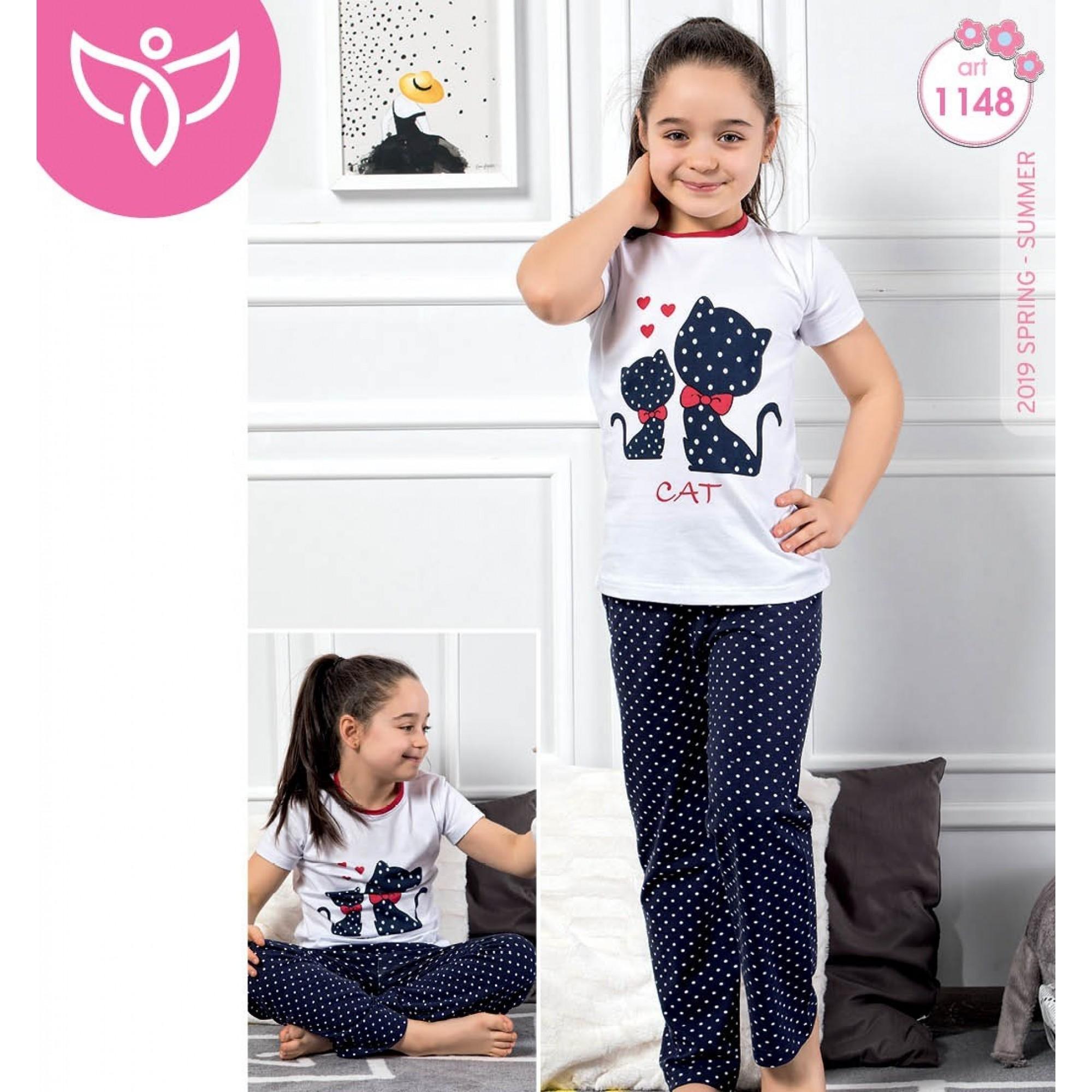 Детска пижама за момиче с къс ръкав Cat