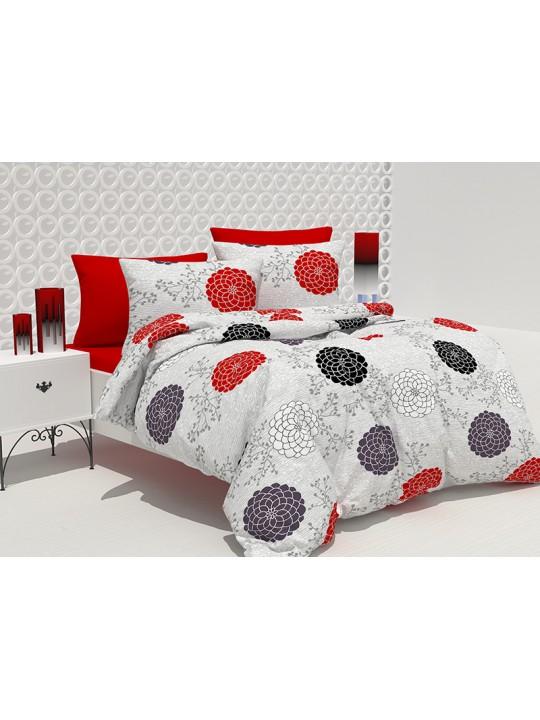 Спално бельо 100% Памук Черно и Червено