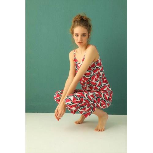 Дамска пижама с десен Диня от три части