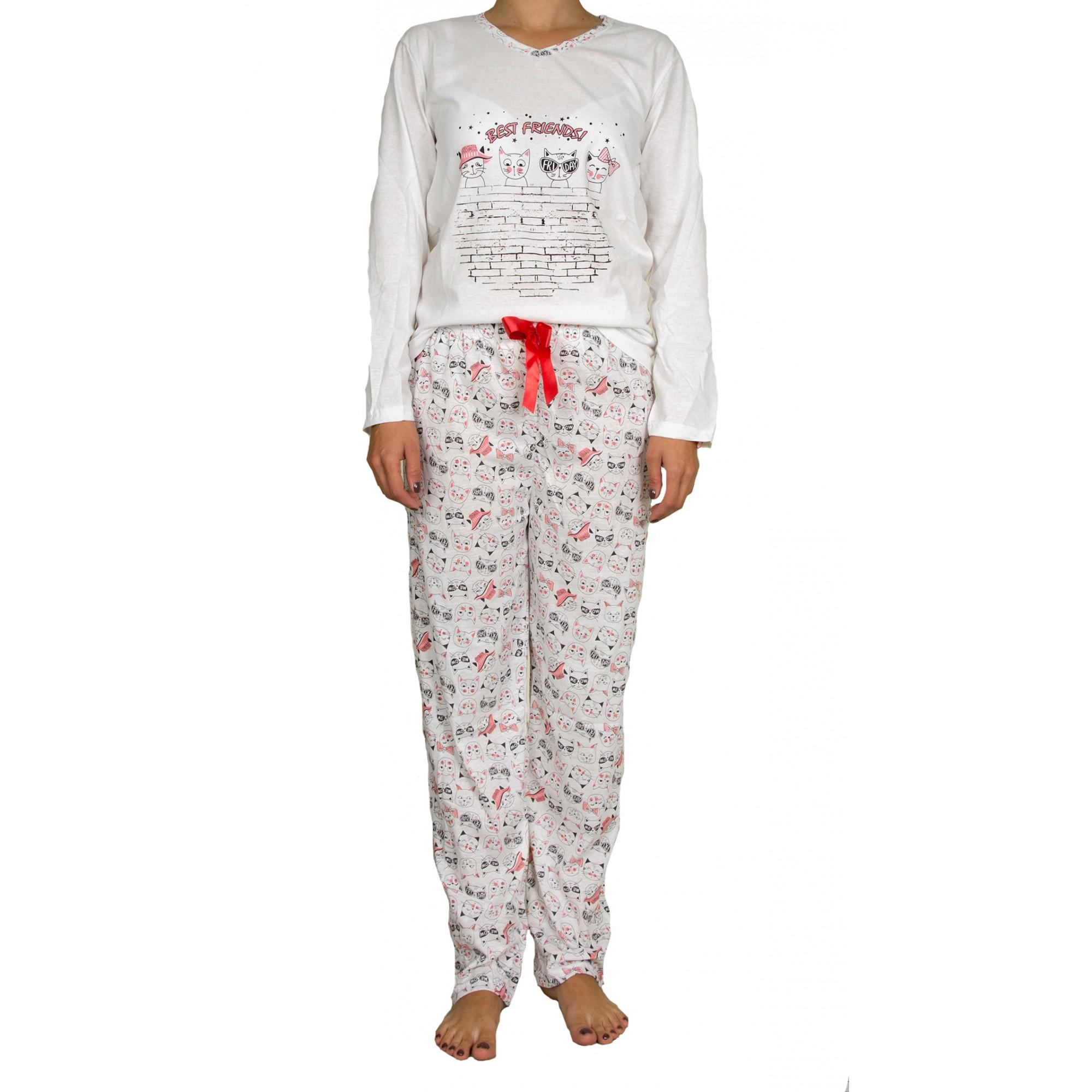 Памучна дамска пижама от трико