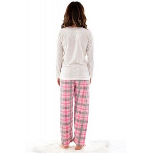 Дамска пижама от памучно трико с панделки