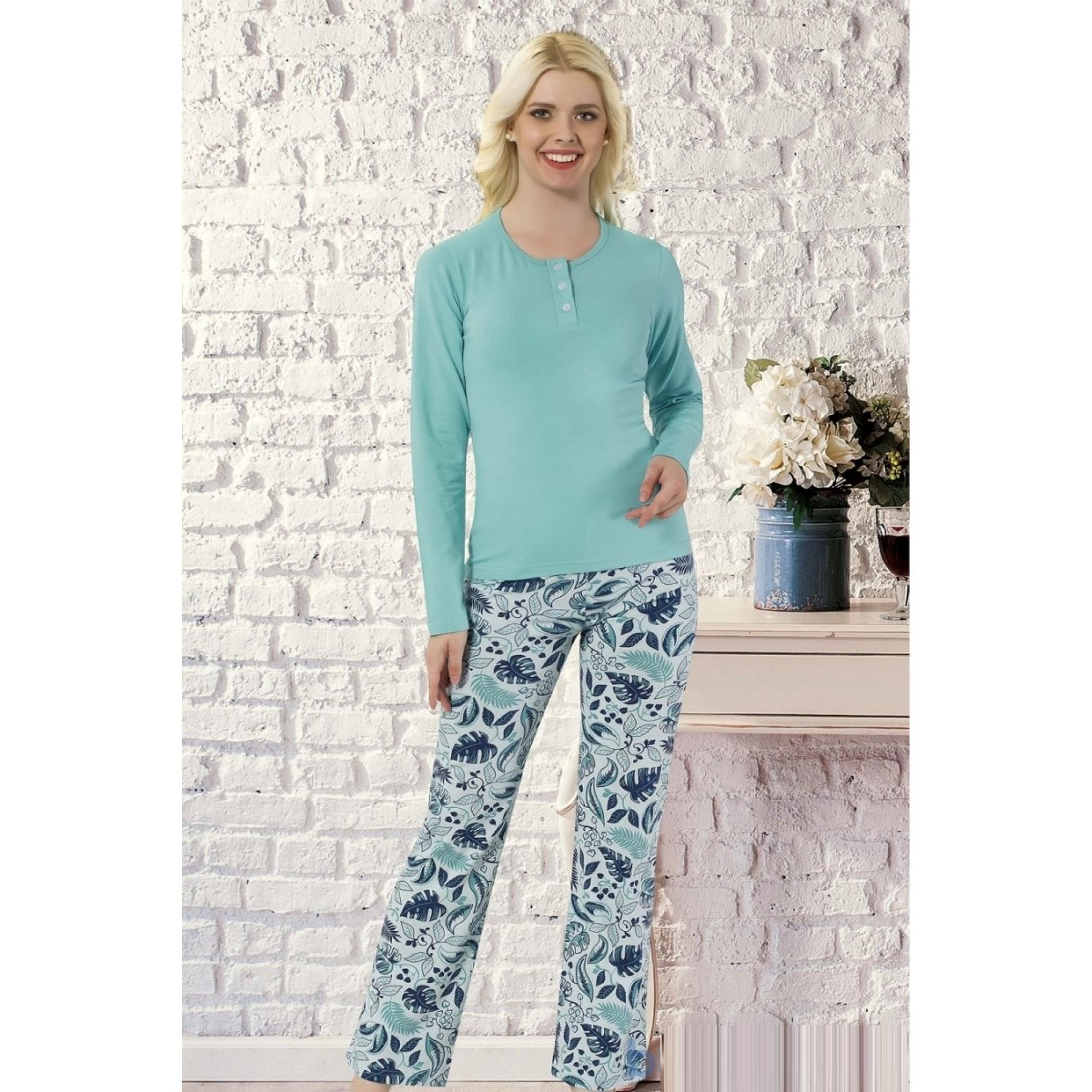 Дамска пижама Blue Flowers - Модал