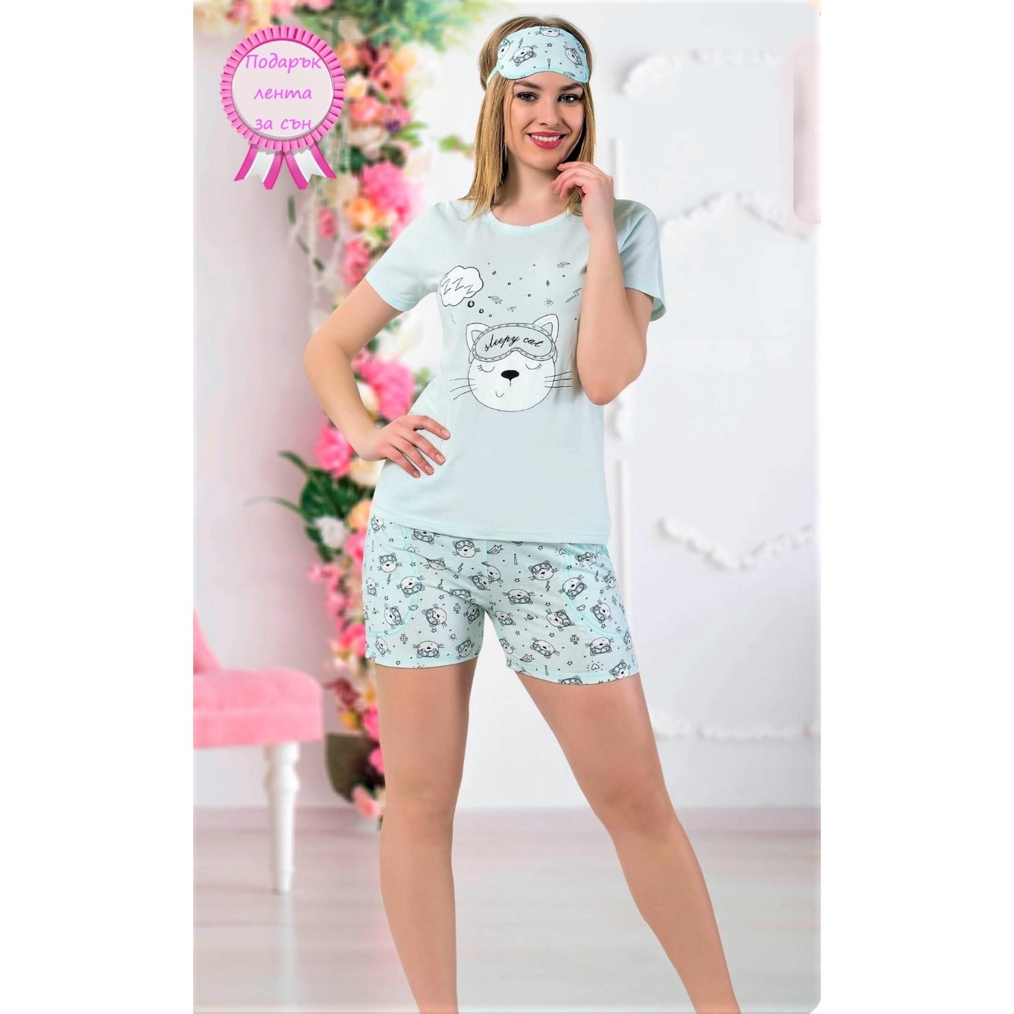 Дамска лятна пижама Sleepy cat с къс ръкав и шорти