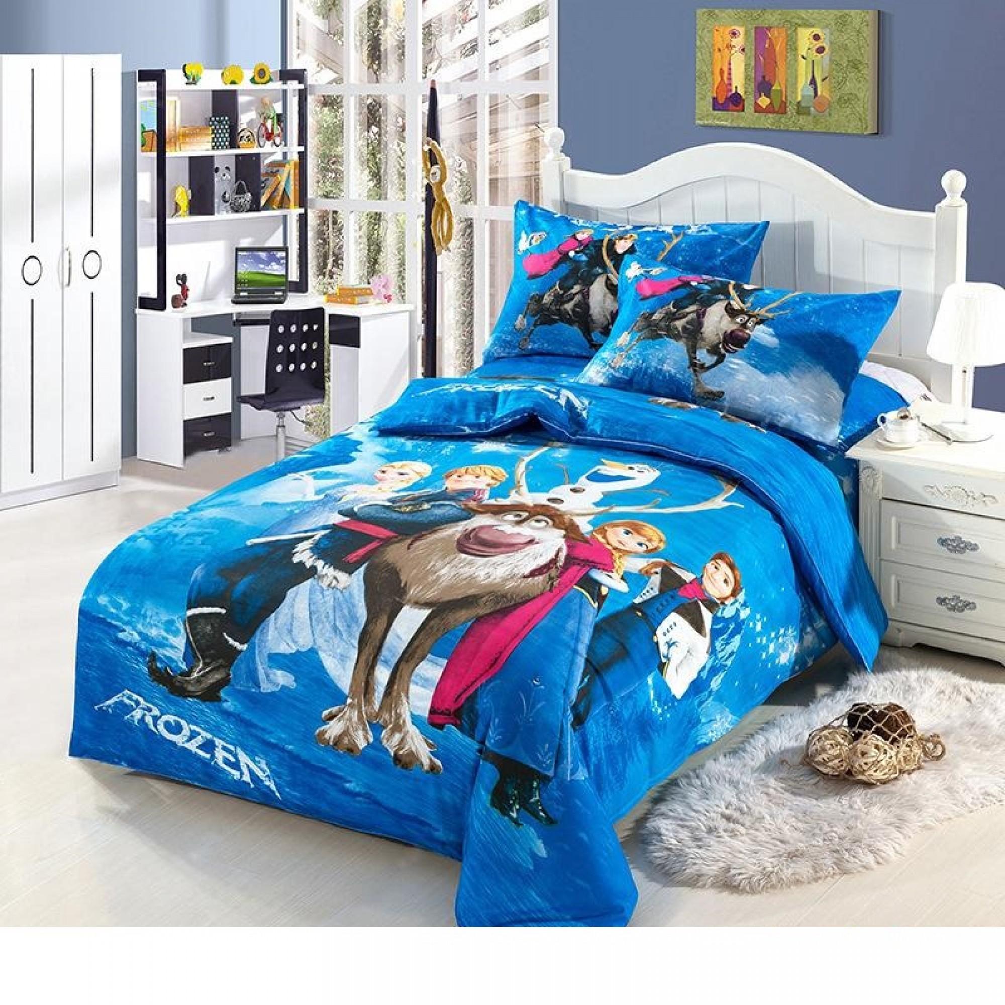 Детско спално бельо Замръзналото кралство синьо 100% памук