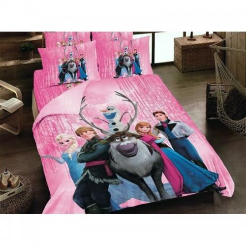Детско спално бельо Замръзналото кралство розово от 100% памук