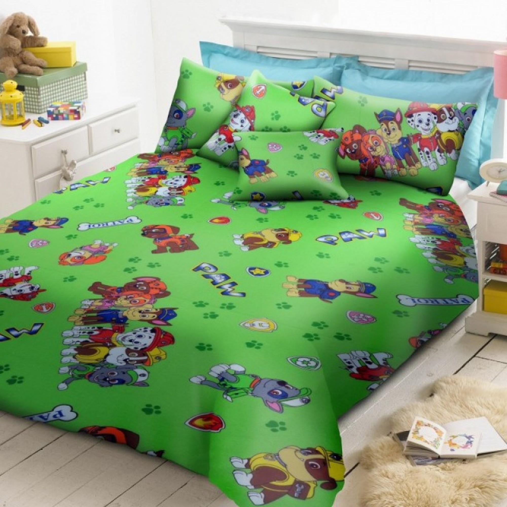 Детско спално бельо ПЕС ПАТРУЛ зелено  100% Памук