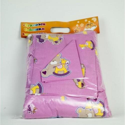 Бебешки спален комплект Ранфорс Розов Мечо - 100% Памук
