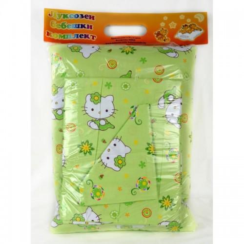 Спален комплект от Ранфорс  за новородени Green Kitty