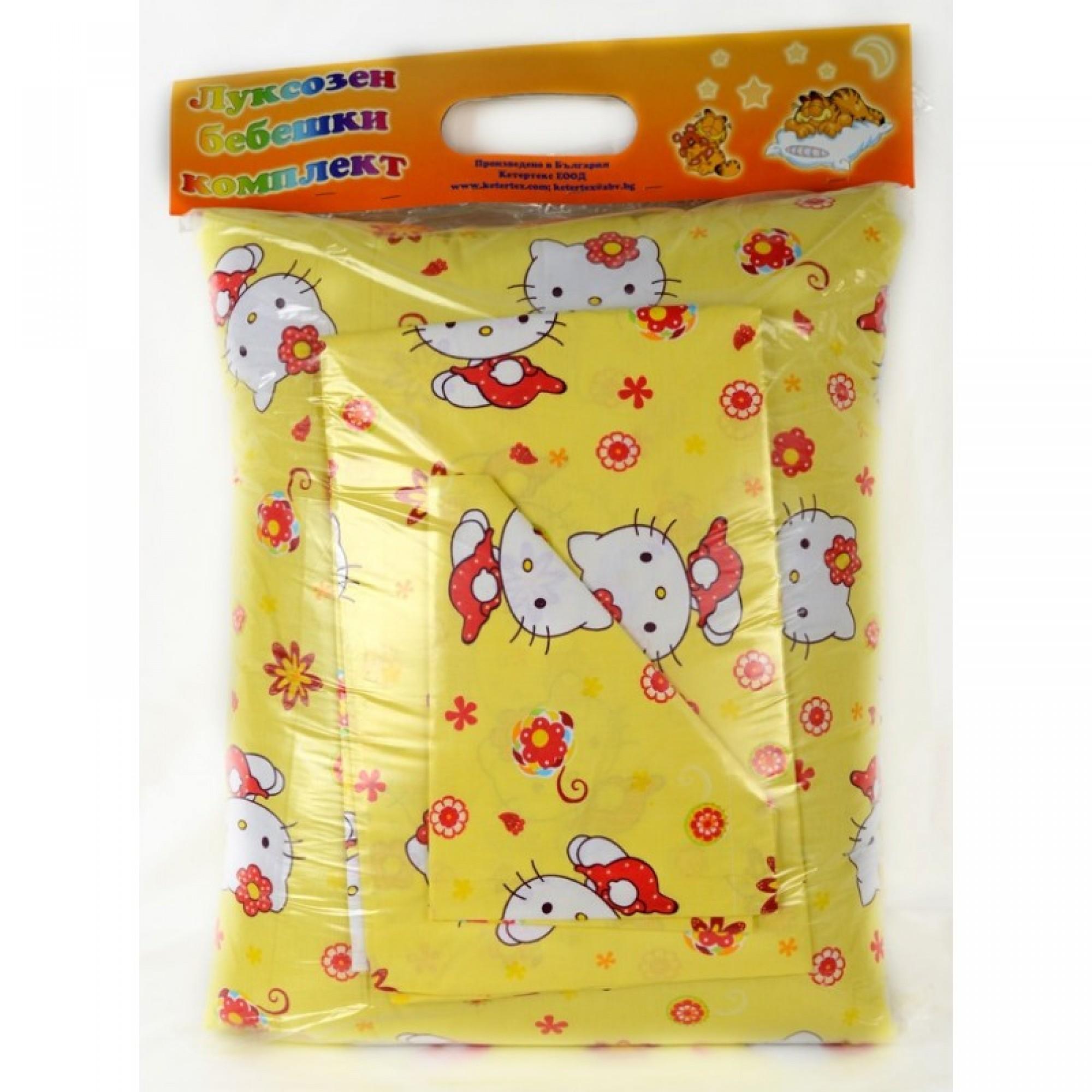 """Спален комплект от Ранфорс """"Yellow Kitty"""" за вашето бебе"""