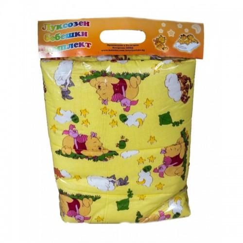 Бебешко спално бельо Мечо Пух и приятели в жълто от 100% Памук