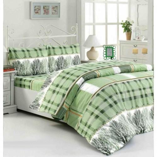 Спално бельо ГОРА зелено – 100% Памук