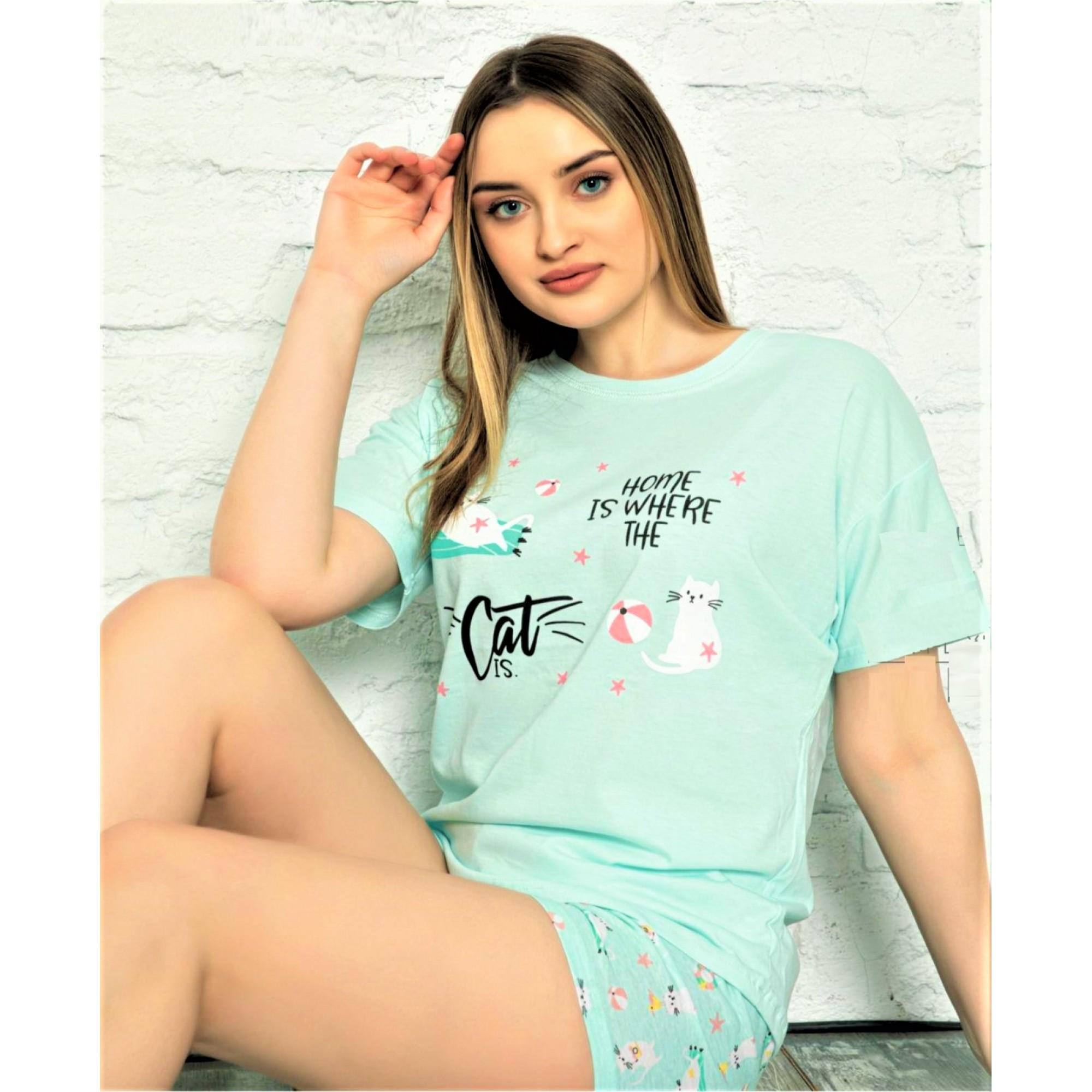 Дамска пижама Cat от две части