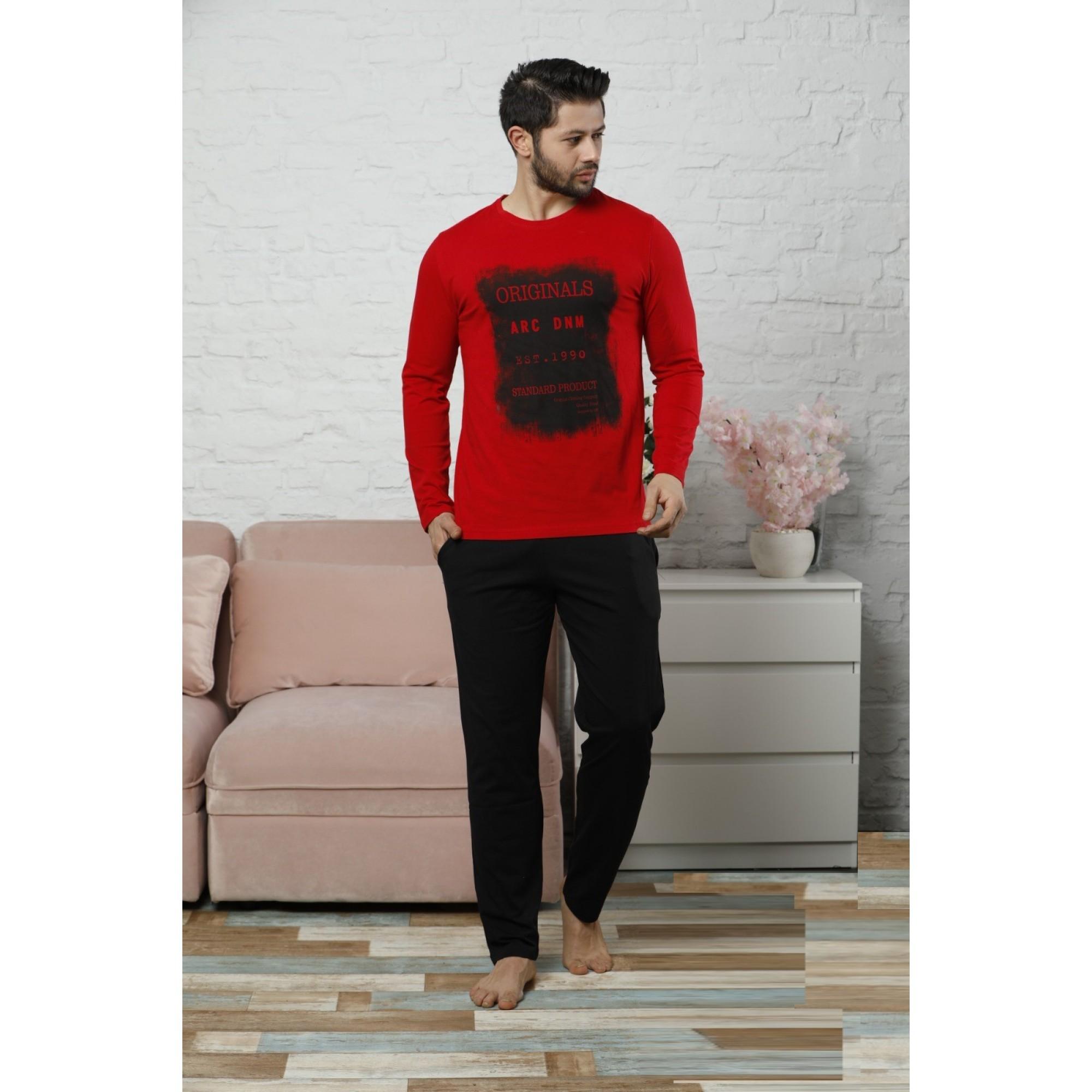 Red мъжка пижама с дълъг ръкав