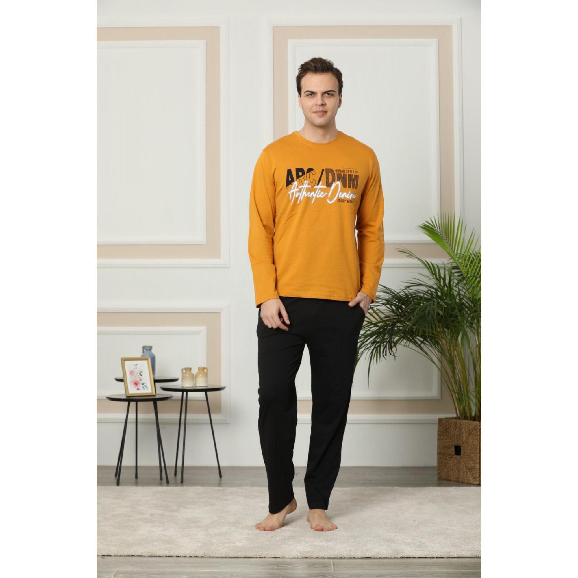 Denim мъжка пижама с дълъг ръкав