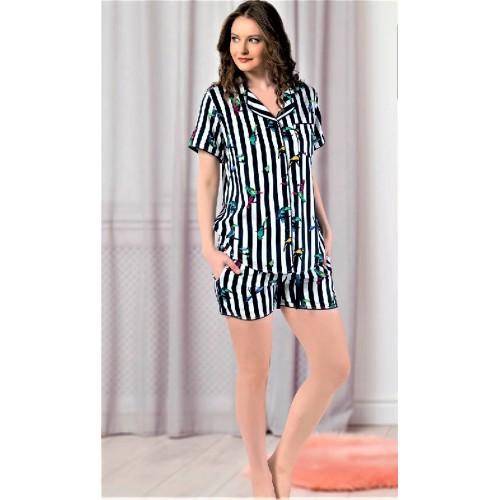 Дамска пижама от луксозен памучен сатен с копчета Bird