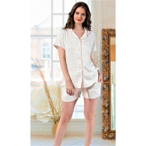 Дамска пижама от луксозен плат памучен сатен с копчета Кая