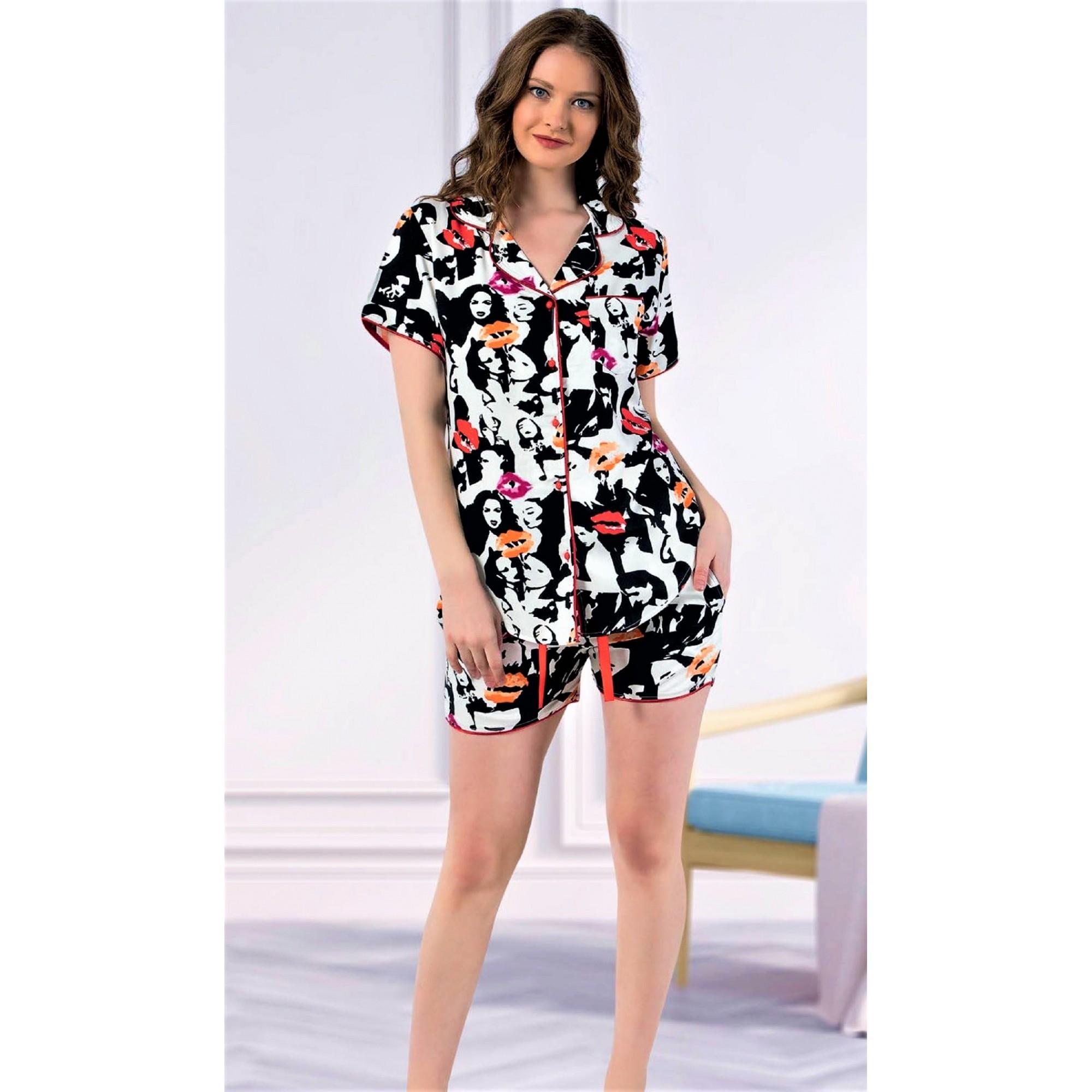 Дамска пижама от луксозен плат памучен сатен с копчета Kiss