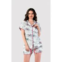 Дамска пижама от луксозен памучен сатен с копчета Bicycle