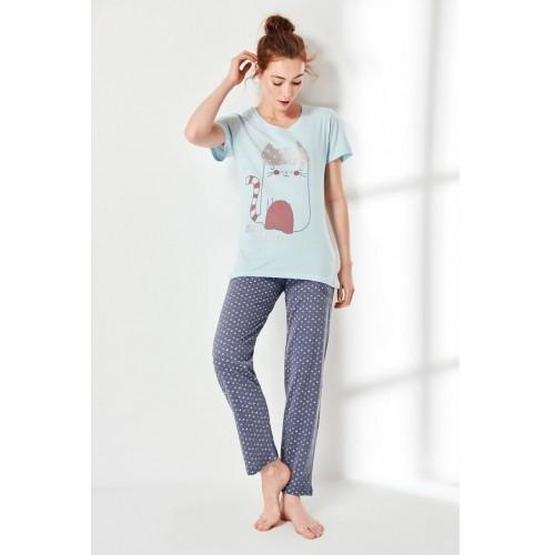 Дамска пижама Kitty с къс ръкав