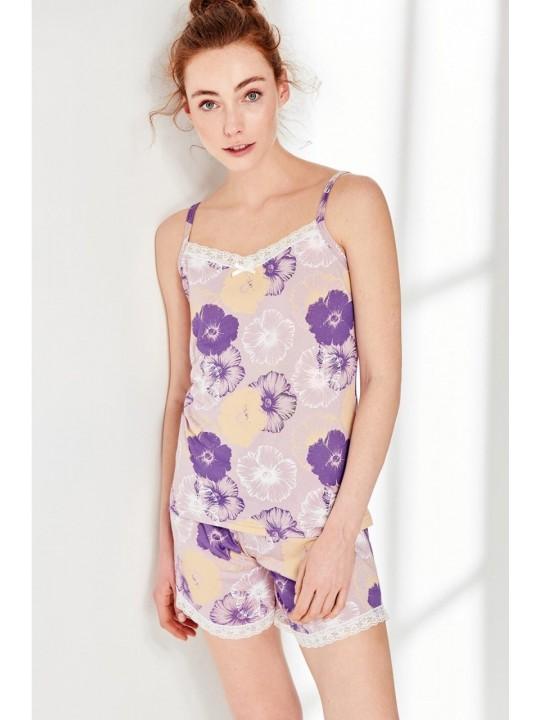 Дамска лятна пижама Purple Flowers от модал