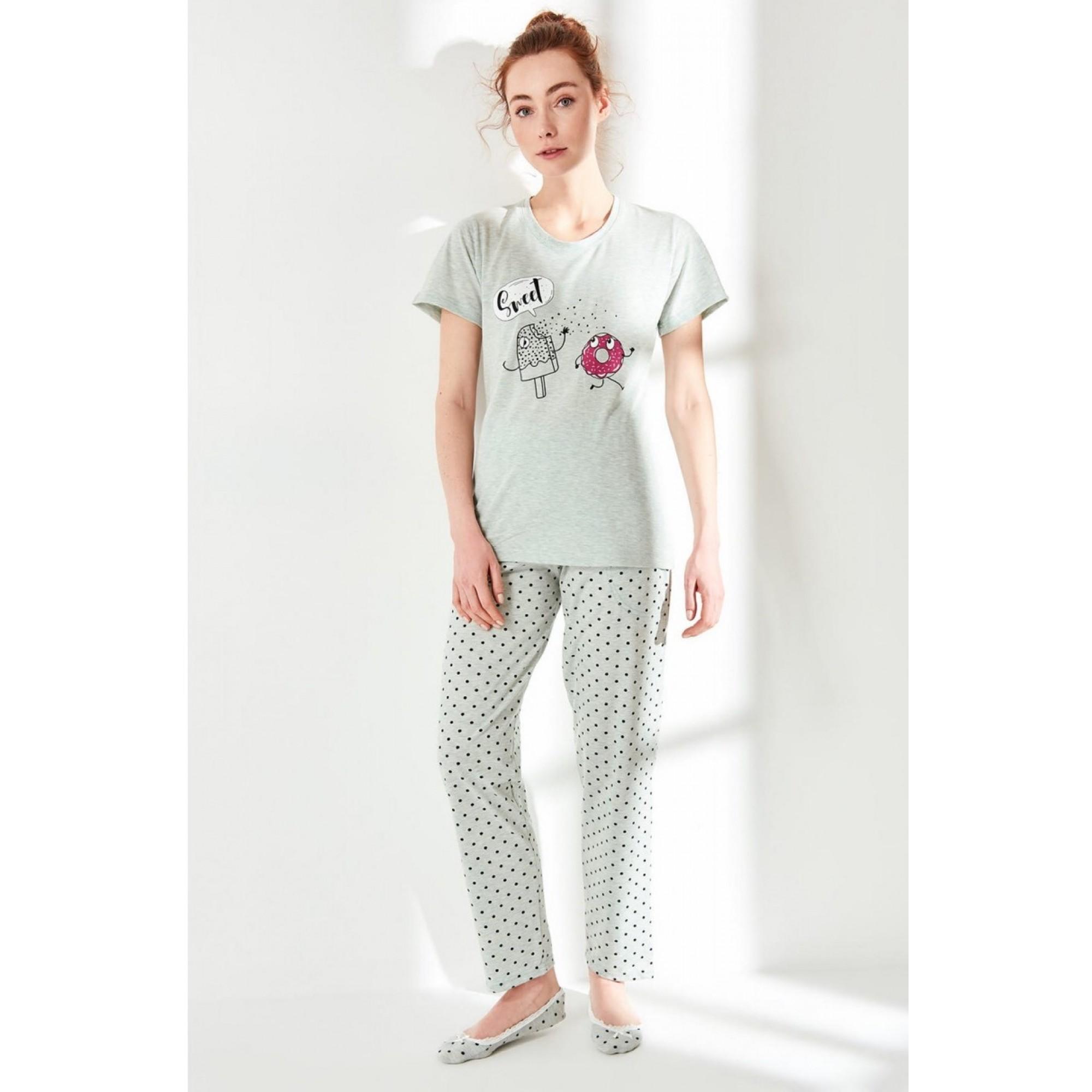 Дамска пижама Ice cream & Donut с къс ръкав