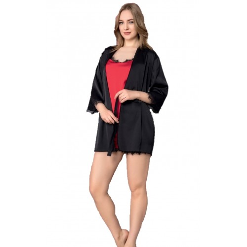 Дамска сатенена пижама с халат Devil