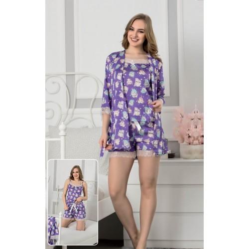 Сатенена пижама с халат Stafire