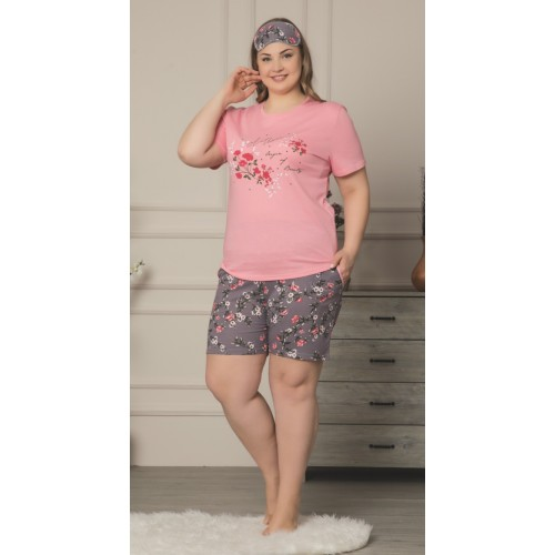 Дамска лятна пижама в големи размери Pink Heart