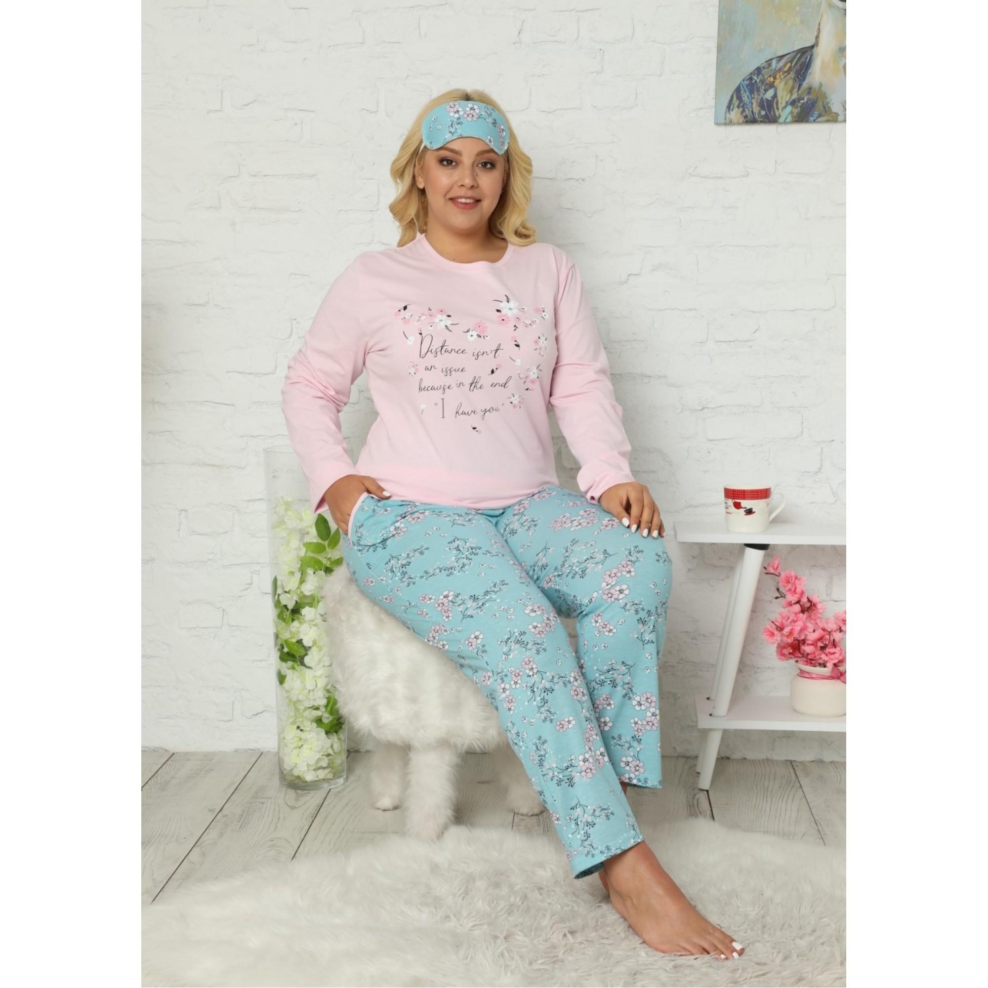 Emy дамска пижама с дълъг ръкав в макси размери