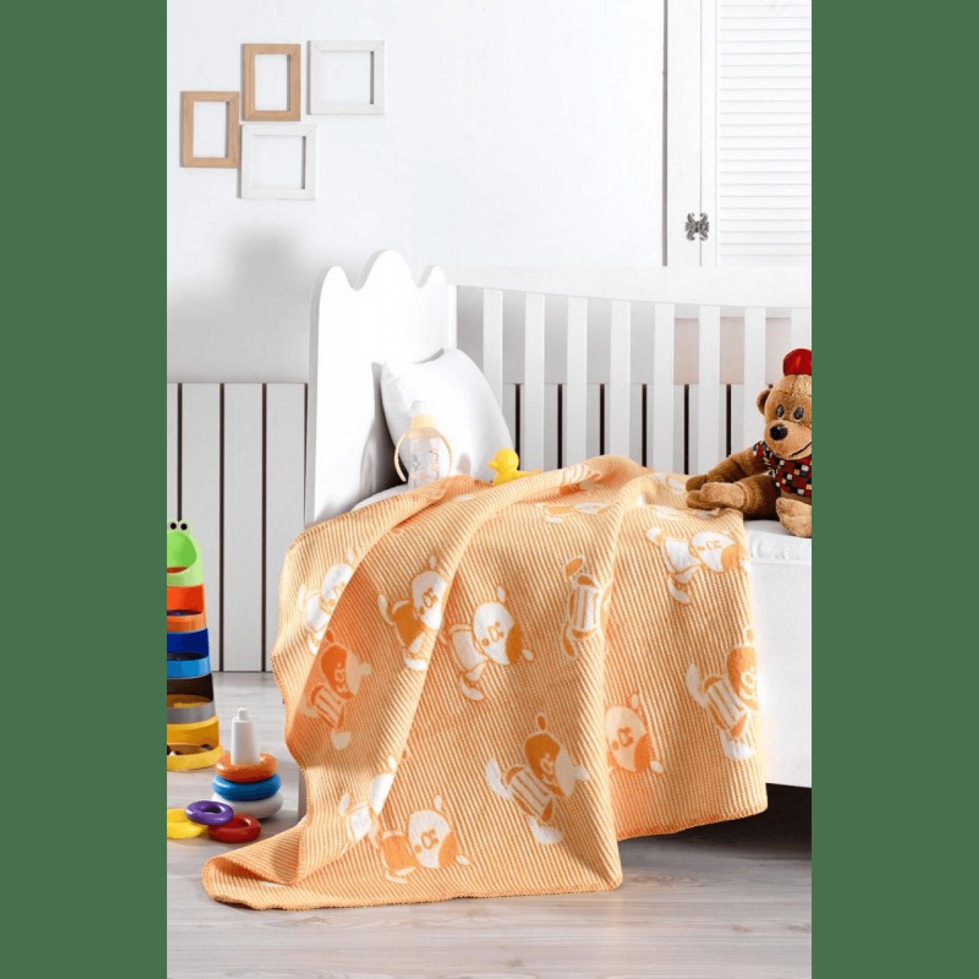 Памучно бебешко одеяло с мече