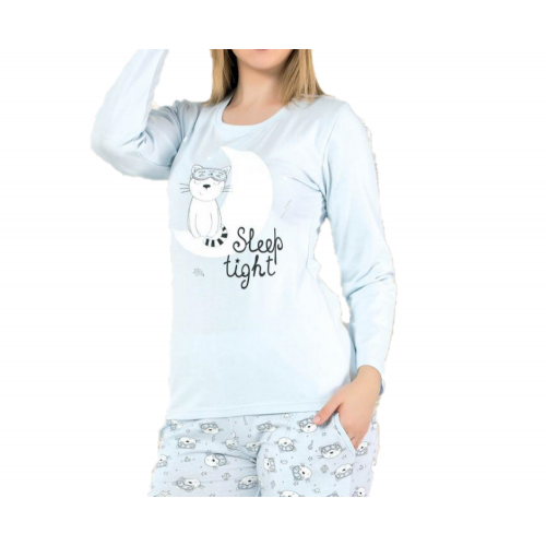 Дамска пижама с дълъг ръкав есен/зима