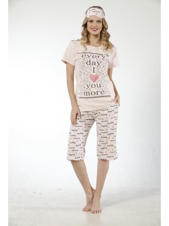 Дамска лятна пижама I Love You с 3/4 панталон