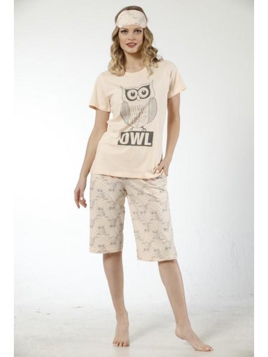 Дамска лятна пижама Owl с 3/4 панталон