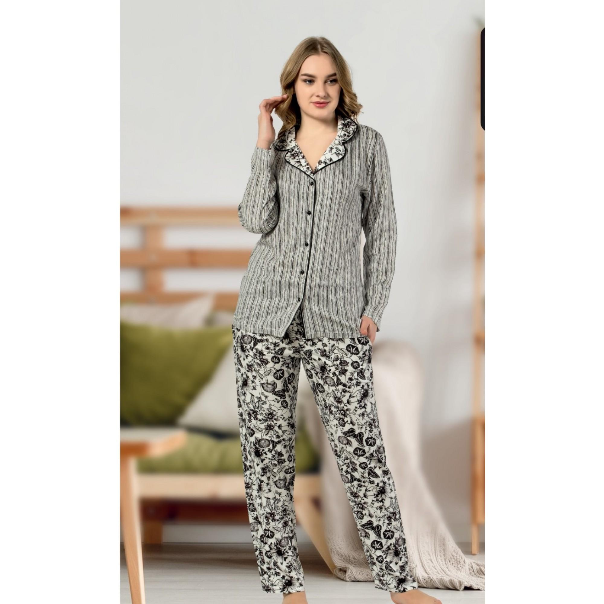 Дамска луксозна пижама LUX Grey Flowers от памучен сатен
