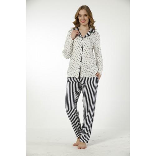 Дамска луксозна пижама Grey & Black от памучен сатен
