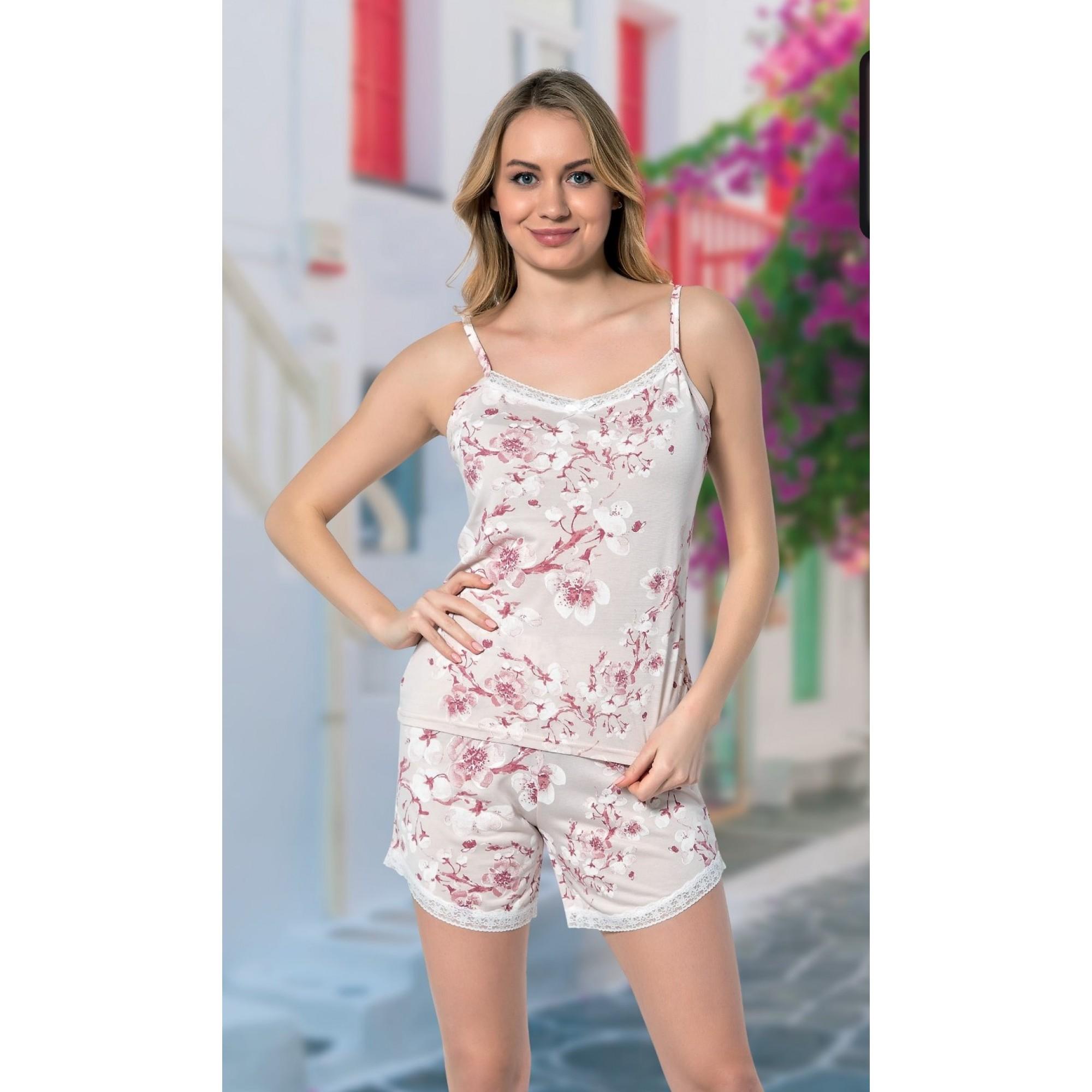 Дамска пижама White Flowers от модал