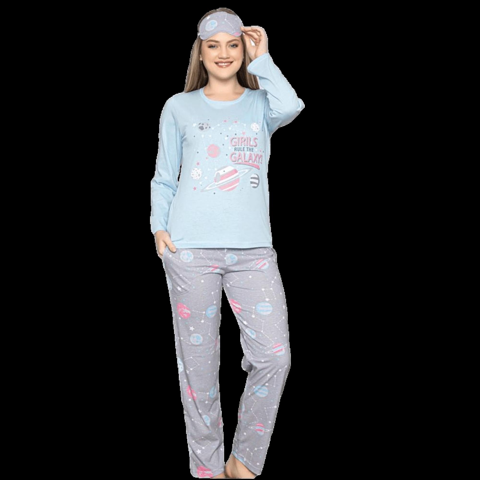 Galaxy дамска пижама с дълъг ръкав