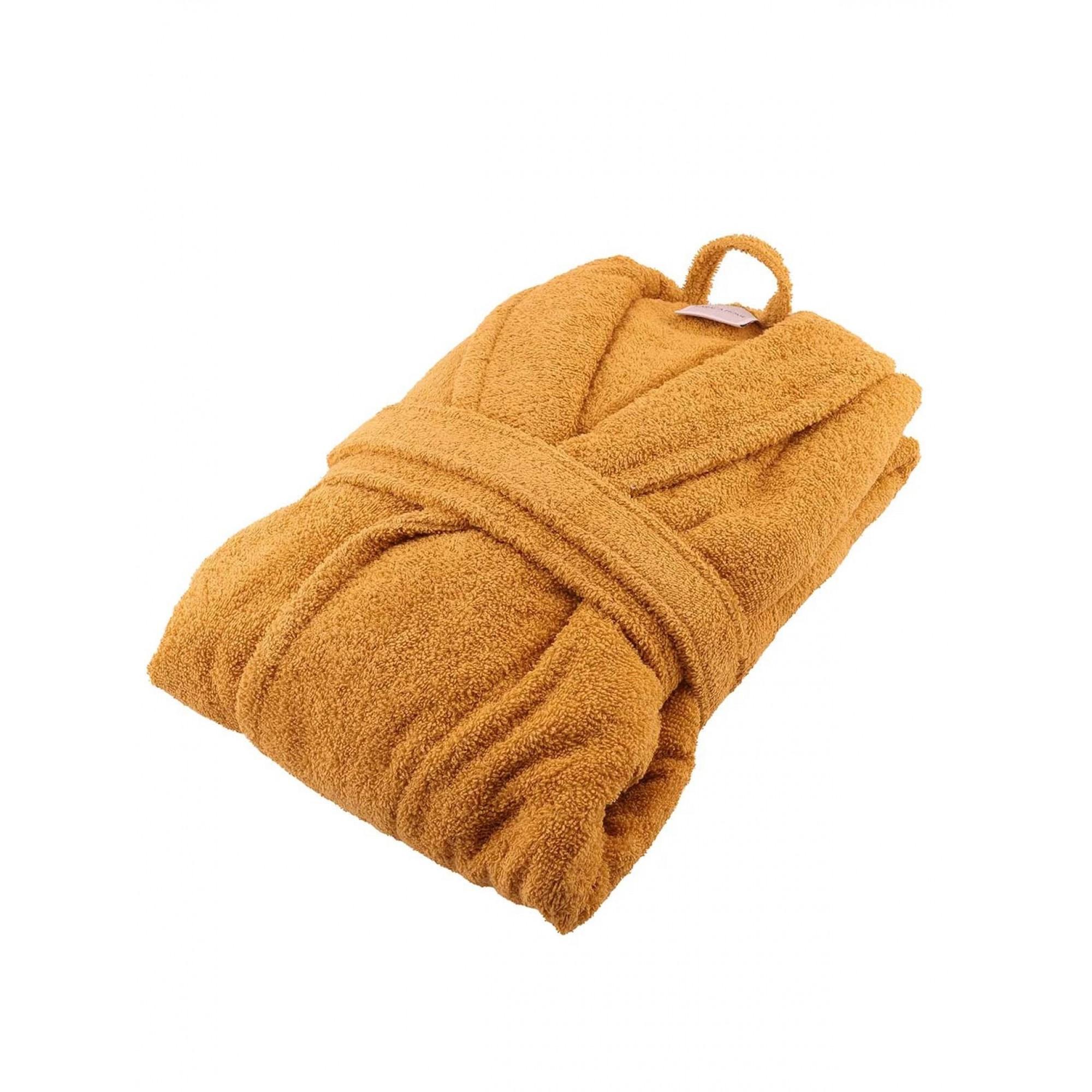 Халат за баня с качулка горчица