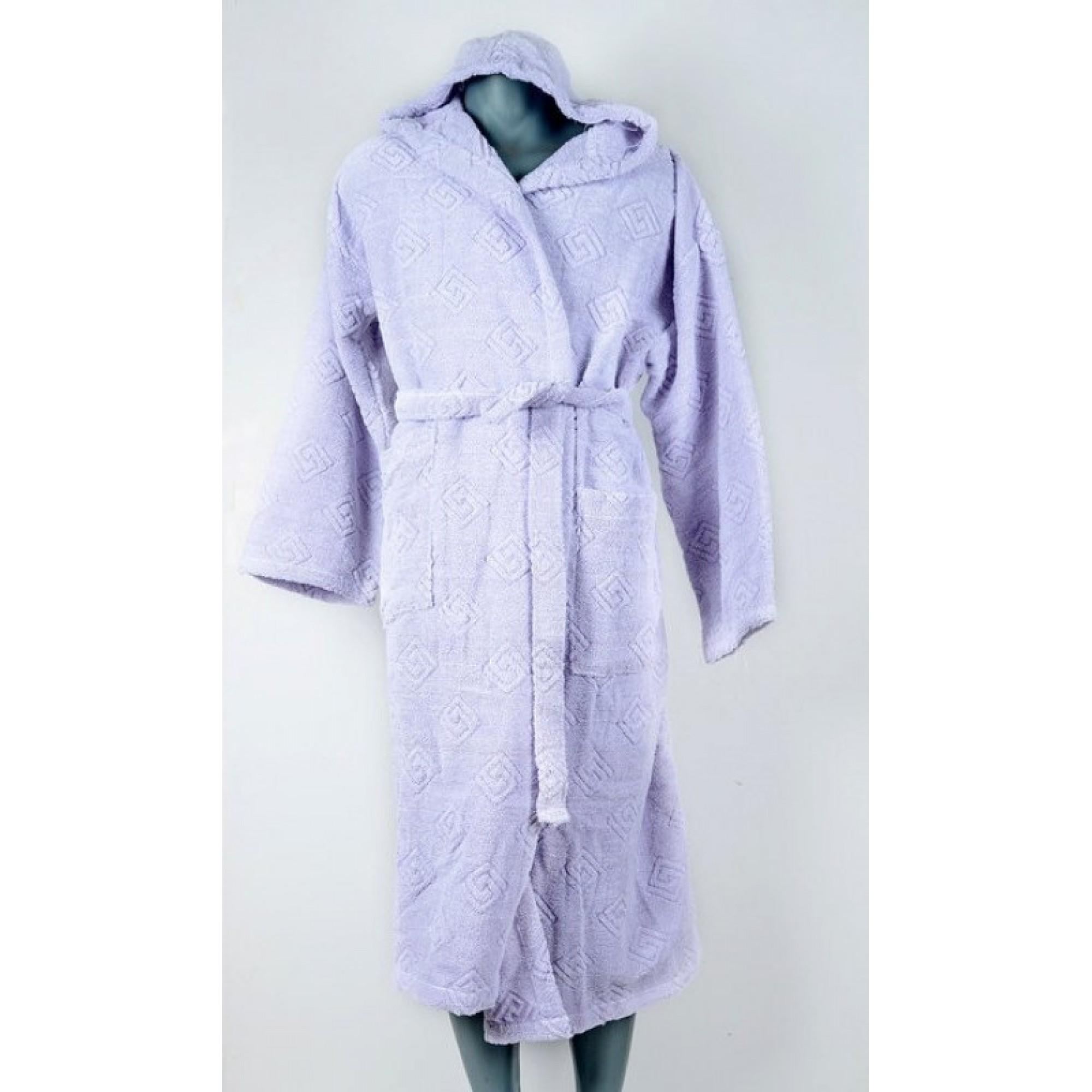 Класически халат за баня с качулка в лилаво