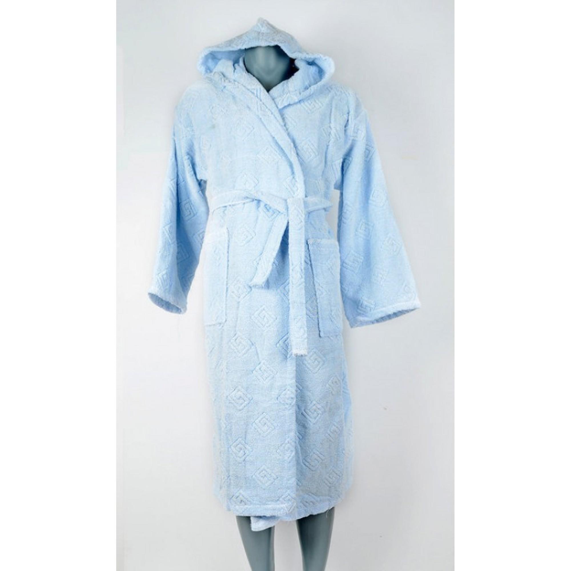 Класически халат с качулка за баня от 100% памук в синьо