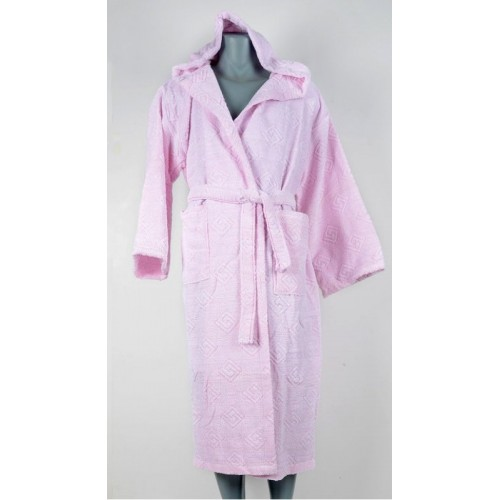 Класически халат за баня с качулка в розово от 100% Памук