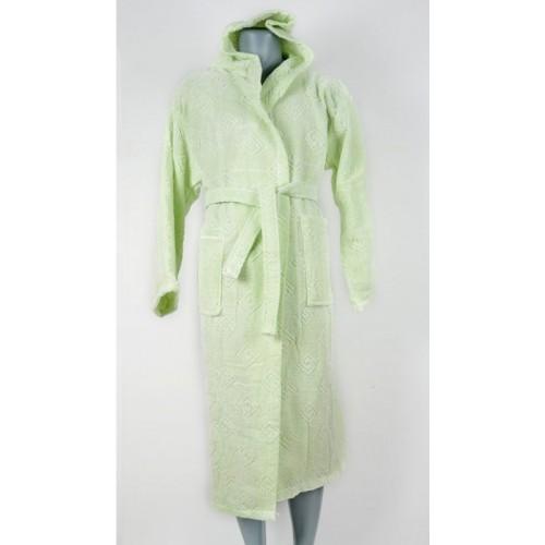 Класически халат за баня с качулка в зелено от 100% памук