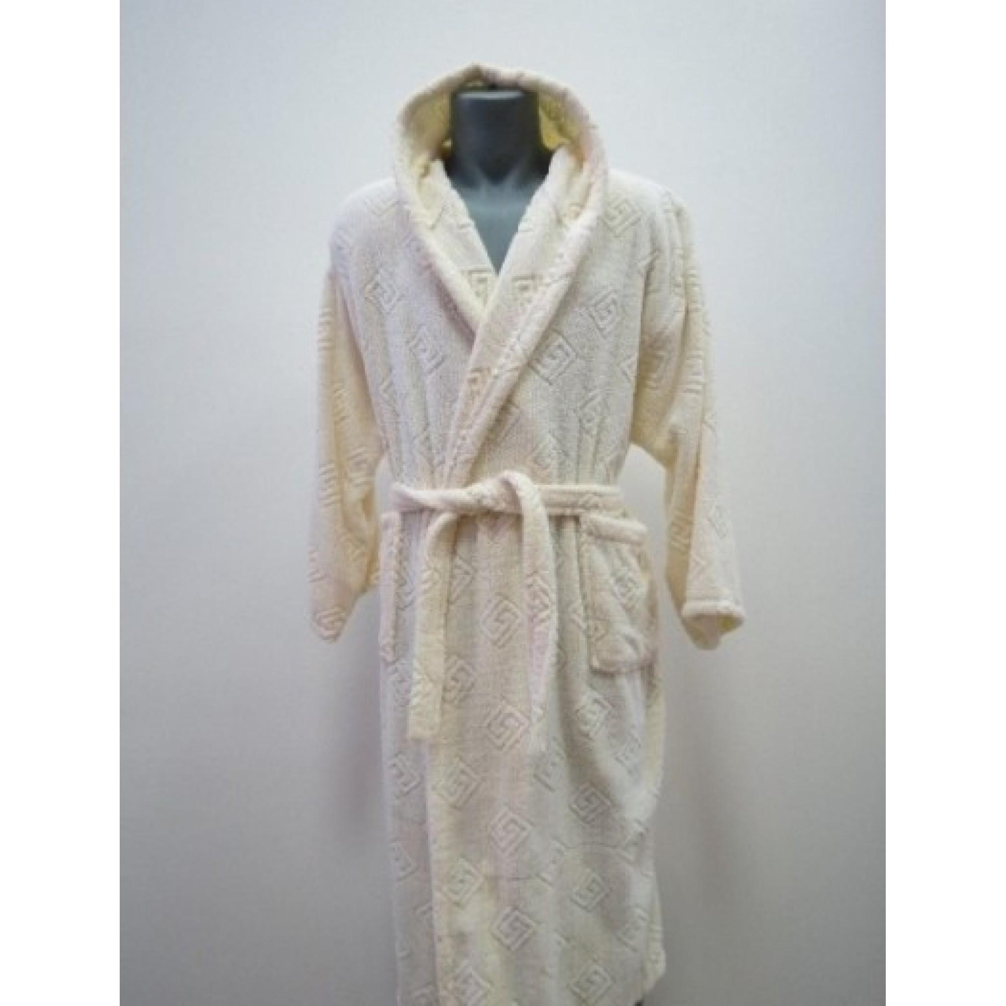 Класически халат за баня с качулка от 100% памук в жълто