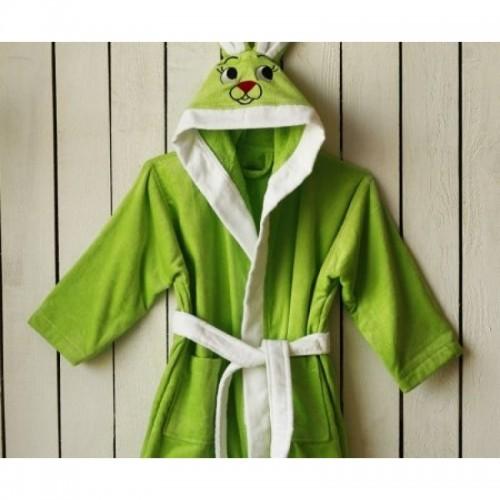 Попивен детски халат с ушички Green Bunny от 100% Памук