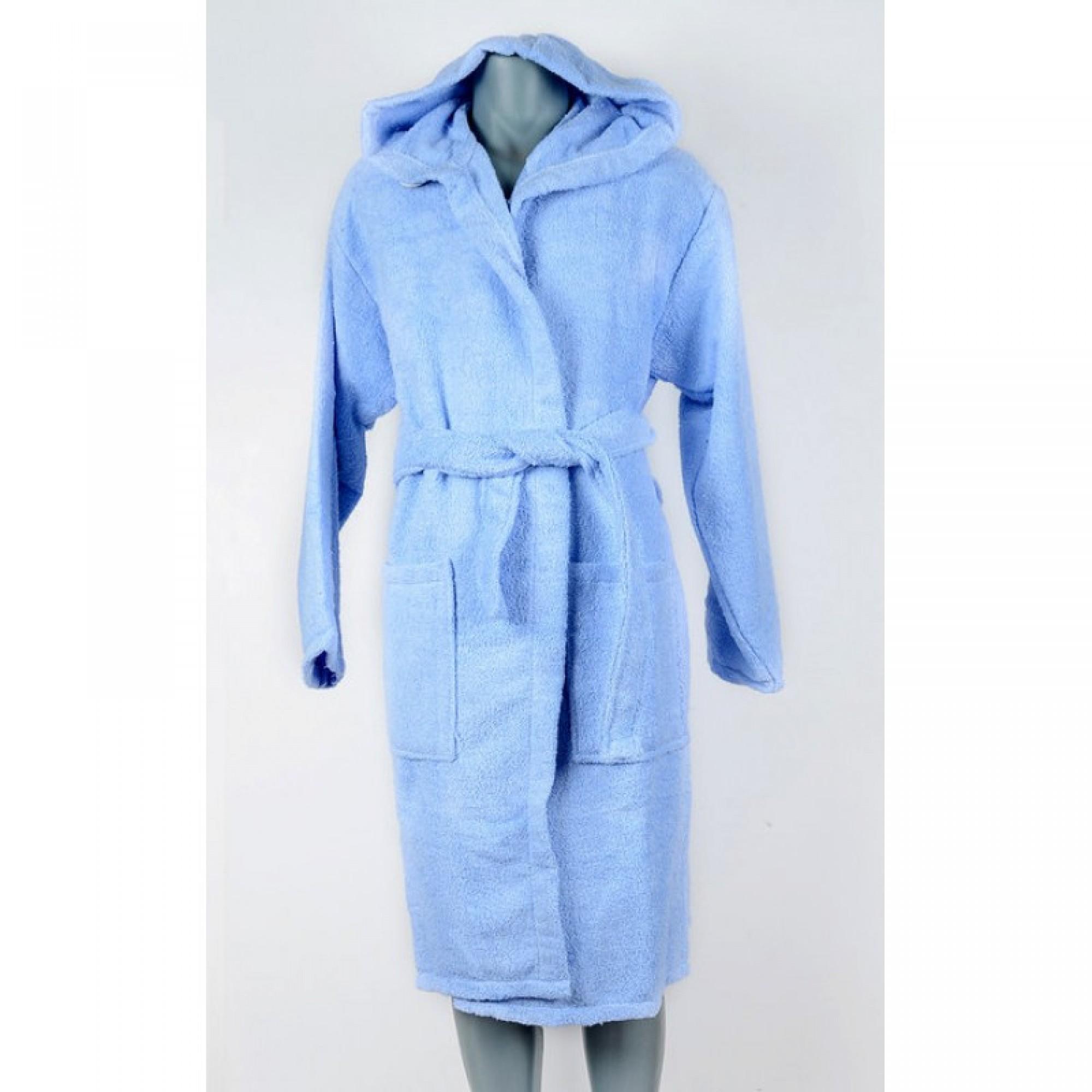 Хавлиен халат за баня с качулка в синьо