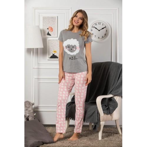 Дамска и детска пижама с къс ръкав Little Sheep в комплект