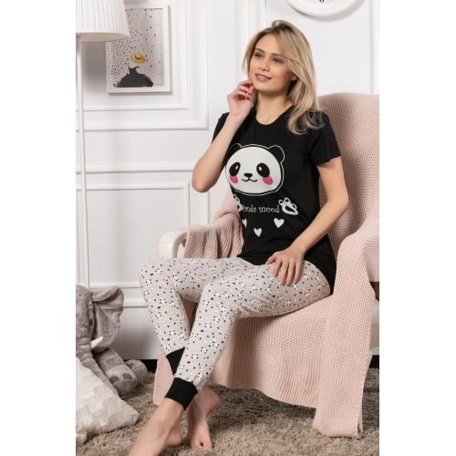 Дамска и детска пижама с къс ръкав Panda Mood в комплект