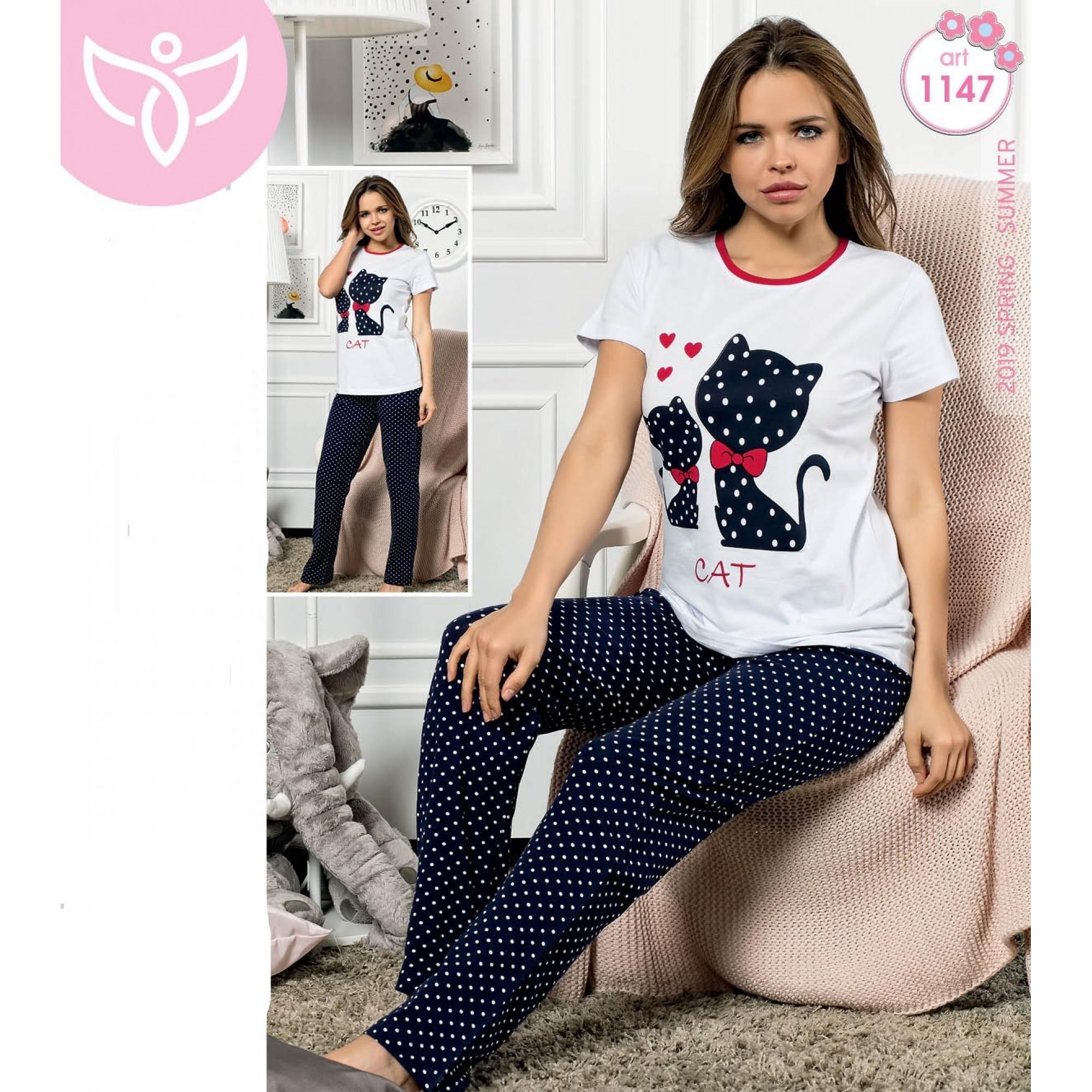 Дамска пижама с къс ръкав Cat