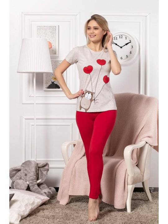 Дамска и детска пижама с къс ръкав I love you в комплект
